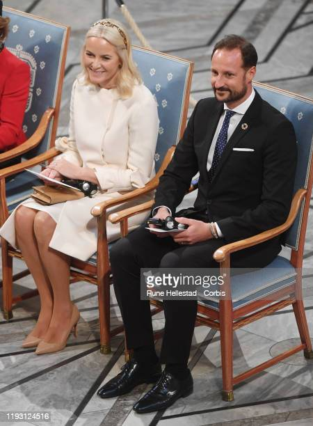 Crown Princess MetteMarit and Crown Prince Haakon of Norway attend the Nobel Peace Prize ceremony 2019 at Oslo City Town Hall on December 10 2019 in...