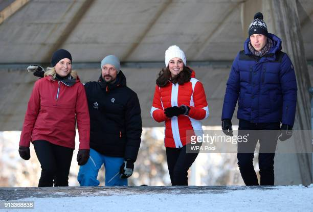 Crown Princess MetteMarit and Crown Prince Haakon of Norway Catherine Duchess of Cambridge and Prince William Duke of Cambridge arrive at...