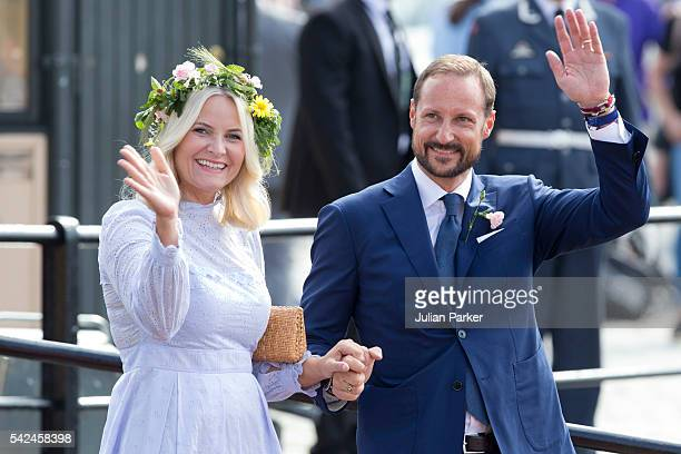 Crown Princess MetteMarit and Crown Prince Haakon of Norway depart for the Norwegian Royal Yacht KS Norge after a day of events in Trondheim during...
