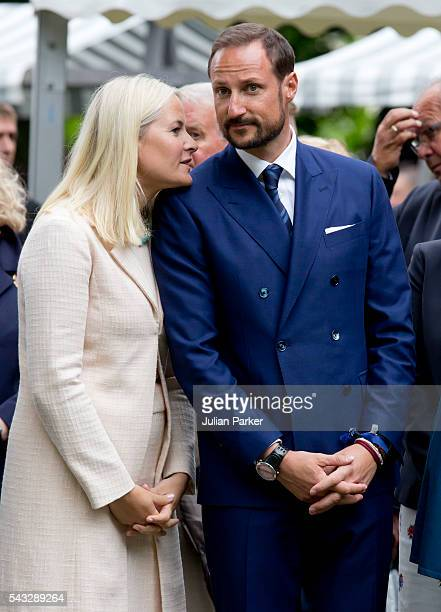 Crown Princess MetteMarit and Crown Prince Haakon of Norway on a visit to Stavanger during the King and Queen of Norway's Silver Jubilee Tour on June...