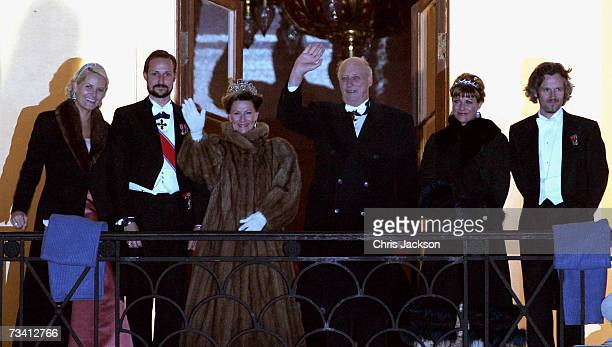 Crown Princess MetteMarit Crown Prince Haakon Queen Sonja of Norway and King Harald V of Norway Princess Martha Louise and Ari Behn appear on the...