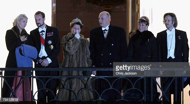 Crown Princess MetteMarit Crown Prince Haakon Queen Sonja of Norway King Harald V of Norway Princess Martha Louise and Ari Behn appear on the balcony...