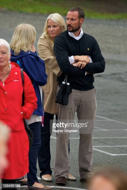 Crown Princess MetteMarit of Norway and Crown Prince Haakon of Norway accompanies Princess Ingrid Alexandra to her first day at school at Janslokka...
