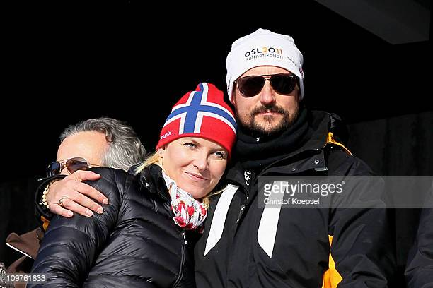 Crown Princess MetteMarit of Norway and Crown Prince Haakon of Norway attend the Men's Cross Country 4x10km Relay race during the FIS Nordic World...