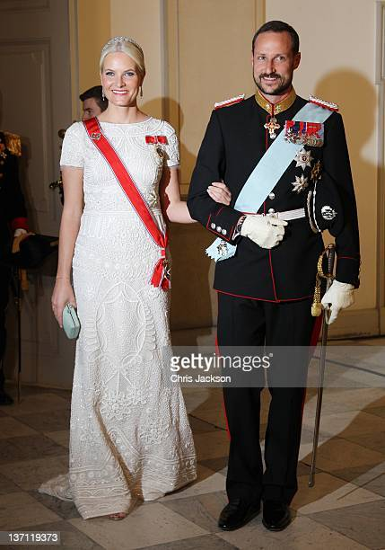Crown Princess MetteMarit of Norway and Crown Prince Haakon of Norway attend a Gala Dinner to celebrate Queen Margrethe II of Denmark's 40 years on...