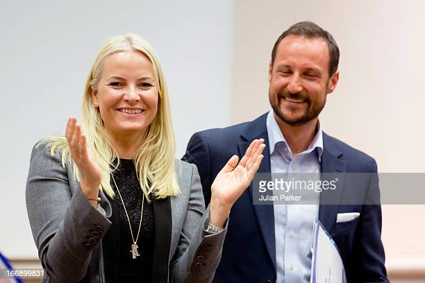 Crown Princess Mette-Marit of Norway and Crown Prince Haakon of Norway visit Arbeidsinstituttet, a local labour institute that offers courses in a...