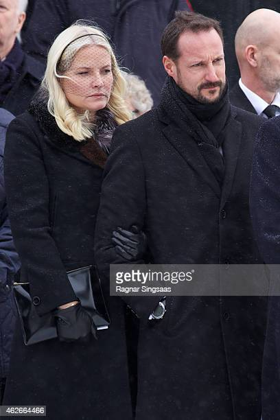Crown Princess Mette-Marit of Norway and Crown Prince Haakon of Norway attend the Funeral Service of Mr Johan Martin Ferner on February 2, 2015 in...