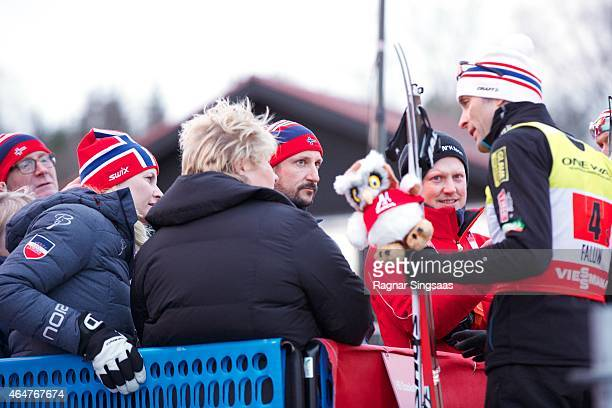 Crown Princess MetteMarit of Norway and Crown Prince Haakon of Norway attend the FIS Nordic World Ski Championships on February 28 2015 in Falun...