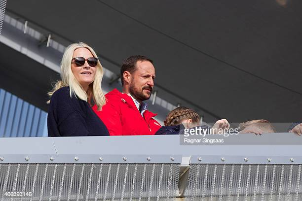 Crown Princess MetteMarit of Norway and Crown Prince Haakon of Norway attend the FIS Nordic World Cup on March 15 2015 in Oslo Norway