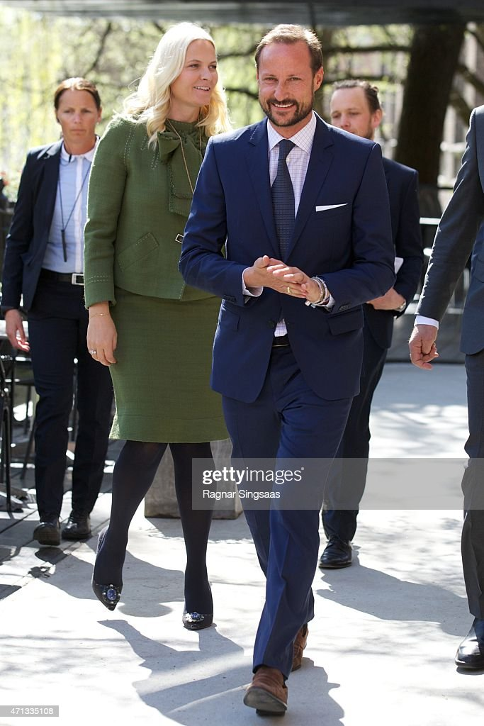 Crown Princess Mette-Marit of Norway and Crown Prince Haakon of Norway attend the 25th anniversary of CICERO (the Center for International Climate and Environmental Research) on April 27, 2015 in Oslo, Norway.