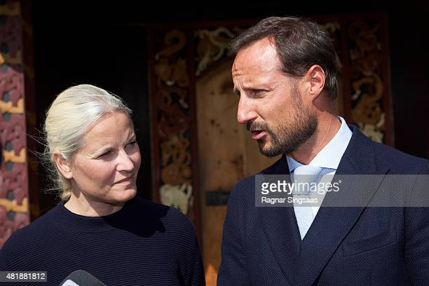 Crown Princess MetteMarit of Norway and Crown Prince Haakon of Norway attend The Saint Olav Festival on July 24 2015 in Stiklestad Norway