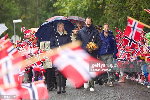 Crown Princess MetteMarit of Norway and Crown Prince Haakon of Norway visit Oppegard on an official county visit to Akershus on September 15 2015 in...