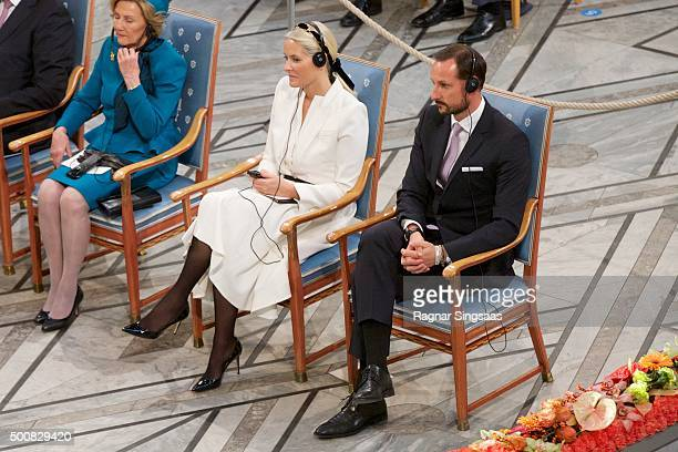 Crown Princess MetteMarit of Norway and Crown Prince Haakon of Norway attend the Nobel Peace Prize ceremony at Oslo City Town Hall on December 10...