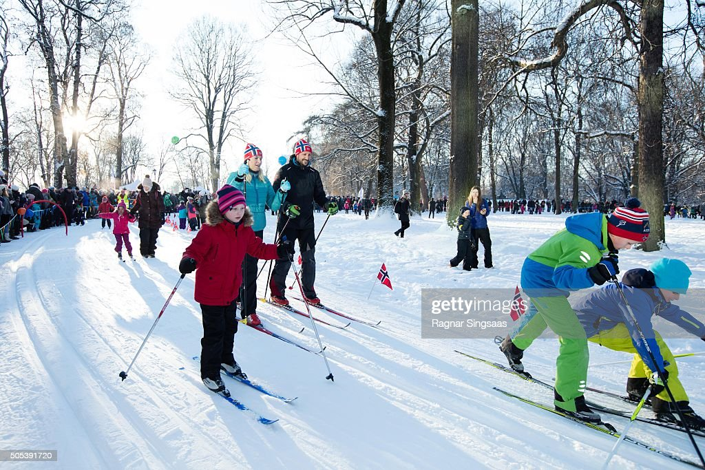 Crown Princess Mette-Marit of Norway and Crown Prince Haakon of Norway attend Winter Games activities outside the Royal Palace while celebrating the 25th anniversary of King Harald V and Queen Sonja of Norway as monarchs on January 17, 2016 in Oslo, Norway.