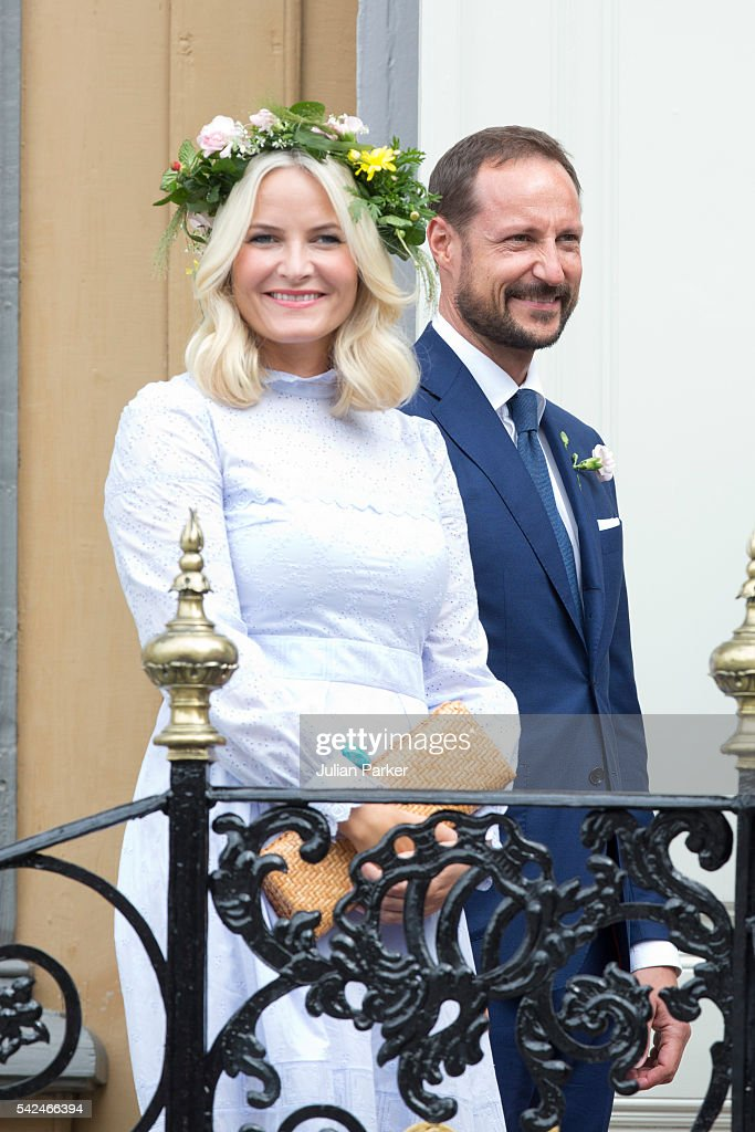 Crown Princess Mette-Marit of Norway, and Crown Prince Haakon of Norway, attend a Garden Party at the Royal Residence, Stiftsgarden, on a visit to Trondheim, during the King and Queen of Norway's Silver Jubilee Tour, on June 23, 2016 in Trondheim, Norway.