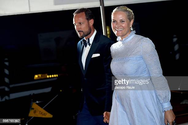 Crown Princess MetteMarit of Norway and Crown Prince Haakon of Norway are seen during the 73rd Venice Film Festival on September 2 2016 in Venice...