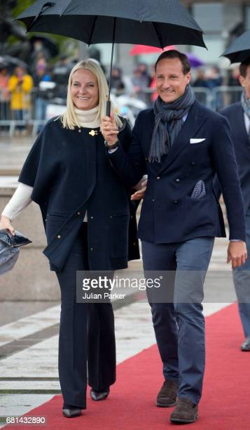 Crown Princess MetteMarit of Norway and Crown Prince Haakon of Norway leave to attend a lunch on the Norwegian Royal Yacht 'Norge' as part of the...