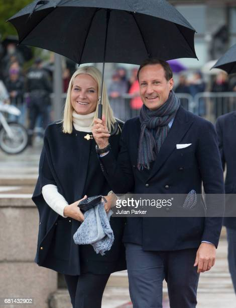 Crown Princess MetteMarit of Norway and Crown Prince Haakon of Norway leave to attend a lunch on the Norwegian Royal Yacht Norge as part of the...