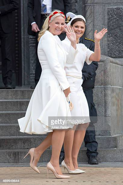 Crown Princess MetteMarit of Norway and Crown Princess Victoria of Sweden attend a reception at Copenhagen Town Hall for the 75th Birthday of Queen...