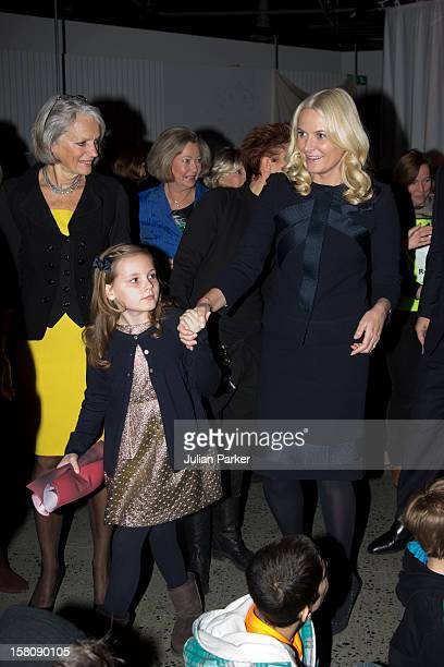 Crown Princess MetteMarit of Norway and her daughter Princess Ingrid Alexandra of Norway attend the Save the Children's Peace Prize Festival at Nobel...