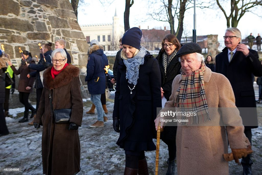 Crown Princess Mette-Marit of Norway and the last living survivor of the Norwegian Jews who were deported to Auschwitz Samuel Steinmann attend Holocaust Remembrance Day on January 27, 2015 in Oslo, Norway.