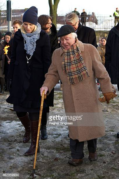 Crown Princess MetteMarit of Norway and the last living survivor of the Norwegian Jews who were deported to Auschwitz Samuel Steinmann attend...