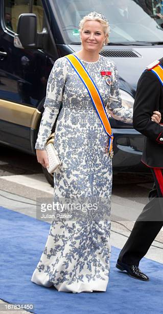 Crown Princess MetteMarit of Norway arrives at the Nieuwe Kerk in Amsterdam for the inauguration ceremony of King Willem Alexander of the Netherlands...
