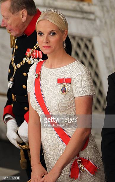 Crown Princess MetteMarit of Norway attends a Gala Dinner to celebrate Queen Margrethe II of Denmark's 40 years on the throne at Christiansborg...