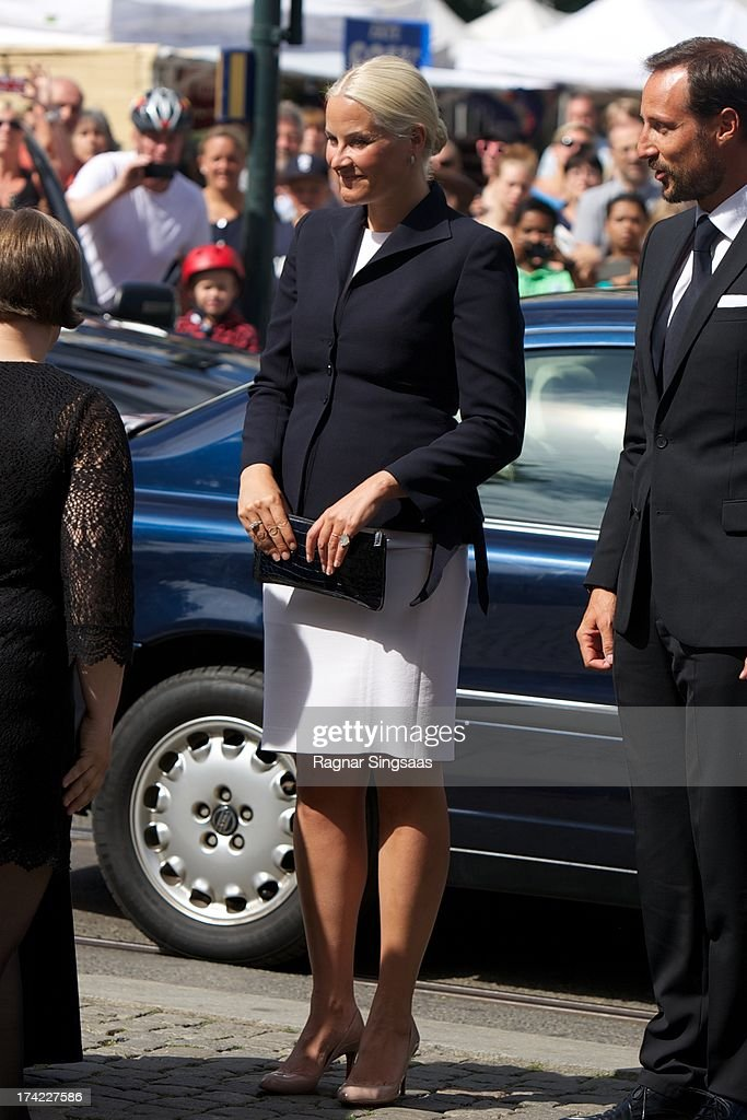 Crown Princess Mette-Marit of Norway attends a memorial service for the victims of the 2011 terrorist attacks on July 22, 2013 in Oslo, Norway.