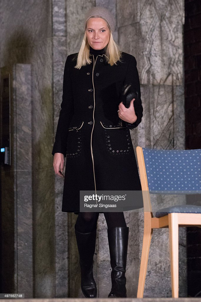 Crown Princess Mette-Marit of Norway attends a Paris Memorial in Oslo on November 17, 2015 in Oslo, Norway.