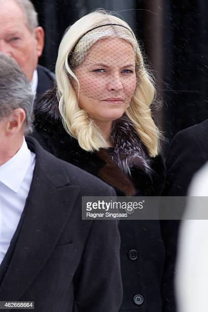 Crown Princess Mette-Marit of Norway attends the Funeral Service of Mr Johan Martin Ferner on February 2, 2015 in Oslo, Norway.