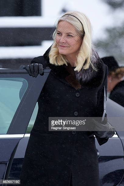 Crown Princess Mette-Marit of Norway attends the Funeral Service of Johan Martin Ferner on February 2, 2015 in Oslo, Norway.