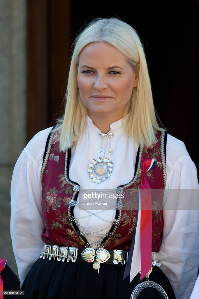 Crown Princess Mette-Marit of Norway, attends the traditional morning children's parade, at her home, Skaugum, in Asker, near Oslo, on Norway's National Day, on May 17, 2016 in Oslo, Norway.