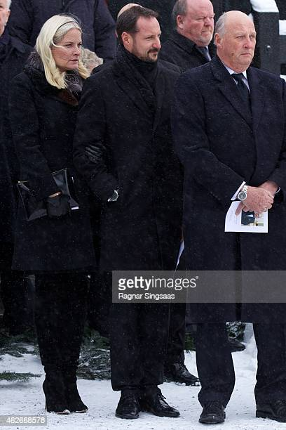 Crown Princess Mette-Marit of Norway, Crown Prince Haakon of Norway and King Harald V of Norway attend the Funeral Service of Mr Johan Martin Ferner...