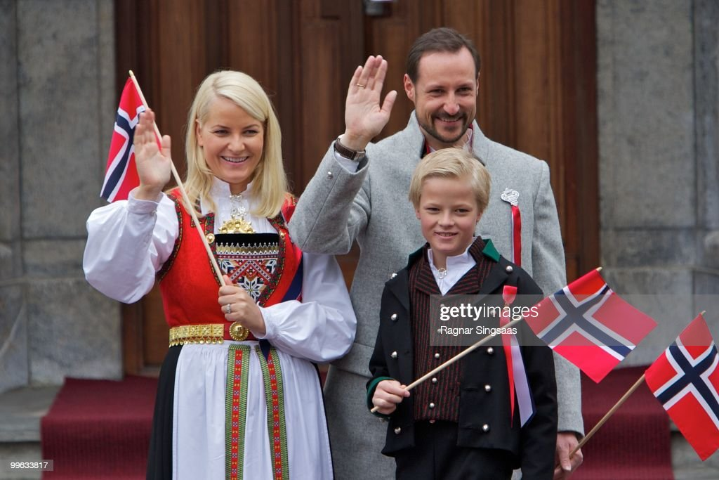 Crown Princess Mette-Marit of Norway, Crown Prince Haakon of Norway and Master Marius Borg Hoiby attend The Children's Parade on Norway's National Day on May 17, 2010 in Asker, Norway.