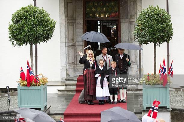 Crown Princess MetteMarit of Norway Crown Prince Haakon of Norway Princess Ingrid Alexandra of Norway Marius Borg Hoiby and Prince Sverre Magnus of...