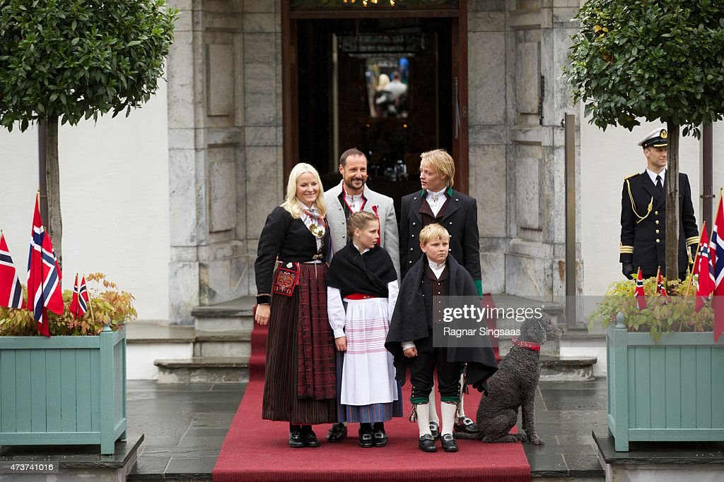 Crown Princess Mette-Marit of Norway, Crown Prince Haakon of Norway, Princess Ingrid Alexandra of Norway, Prince Sverre Magnus of Norway and Marius Borg Hoiby celebrate National Day on May 17, 2015 in Asker, Norway.