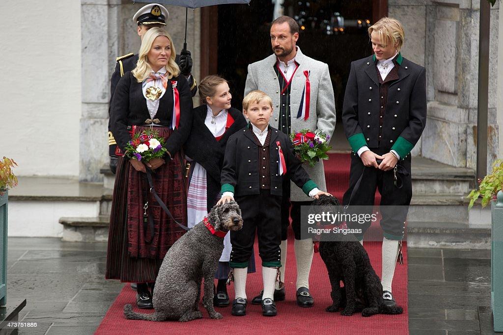 Crown Princess Mette-Marit of Norway, Crown Prince Haakon of Norway, Princess Ingrid Alexandra of Norway, Prince Sverre Magnus of Norway and Marius Borg Hoiby celebrate National Day on May 17, 2015 in Asker, Norway.