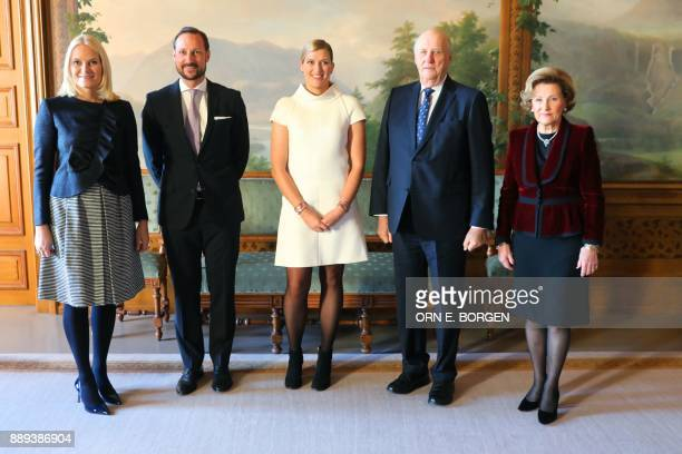 Crown Princess MetteMarit of Norway Crown Prince Haakon of Norway Beatrice Fihn leader of ICAN King Harald V of Norway and Queen Sonja of Norway pose...