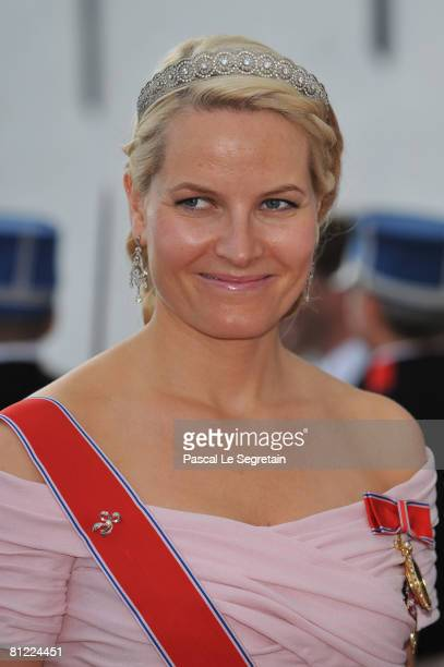 Crown Princess Mette-Marit of Norway departs after she attended the wedding between Prince Joachim of Denmark and Princess Marie of Denmark, Countess...