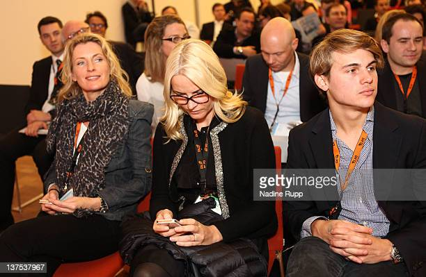 Crown Princess MetteMarit of Norway DLDwoman chairwoman Maria Furtwaengler and Jacob Burda attend the Digital Life Design conference at HVB Forum on...