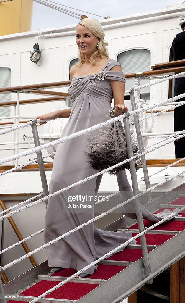 Crown Princess Mette-Marit Of Norway Leaves The Royal Yacht Ks Norge To Attend A Party At Drottningholm Palace Near Stockholm As Part Of The Pre Wedding Celebrations For Crown Princess Victoria Of Sweden And Daniel Westling.