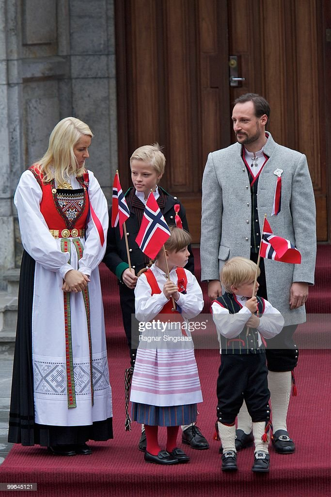 Crown Princess Mette-Marit of Norway, Marius Borg Hoiby, Princess Ingrid Alexandra of Norway, Prince Sverre Magnus of Norway and Crown Prince Haakon of Norway attend The Children's Parade on May 17, 2010 in Asker, Norway.