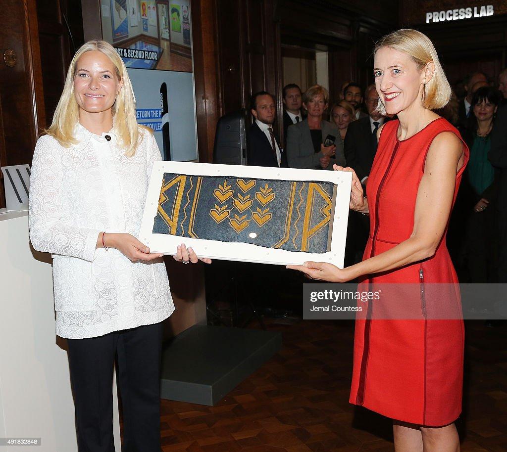 Crown Prince Haakon And Crown Princess Mette-Marit Of Norway Present Gift To Cooper Hewitt