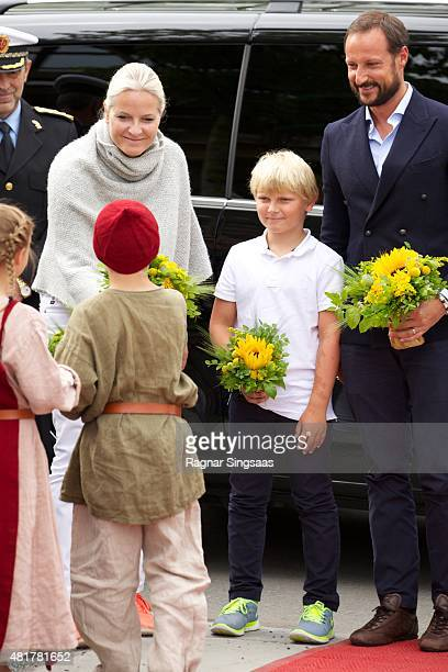 Crown Princess MetteMarit of Norway Prince Sverre Magnus of Norway and Crown Prince Haakon of Norway attend The Saint Olav Festival on July 24 2015...