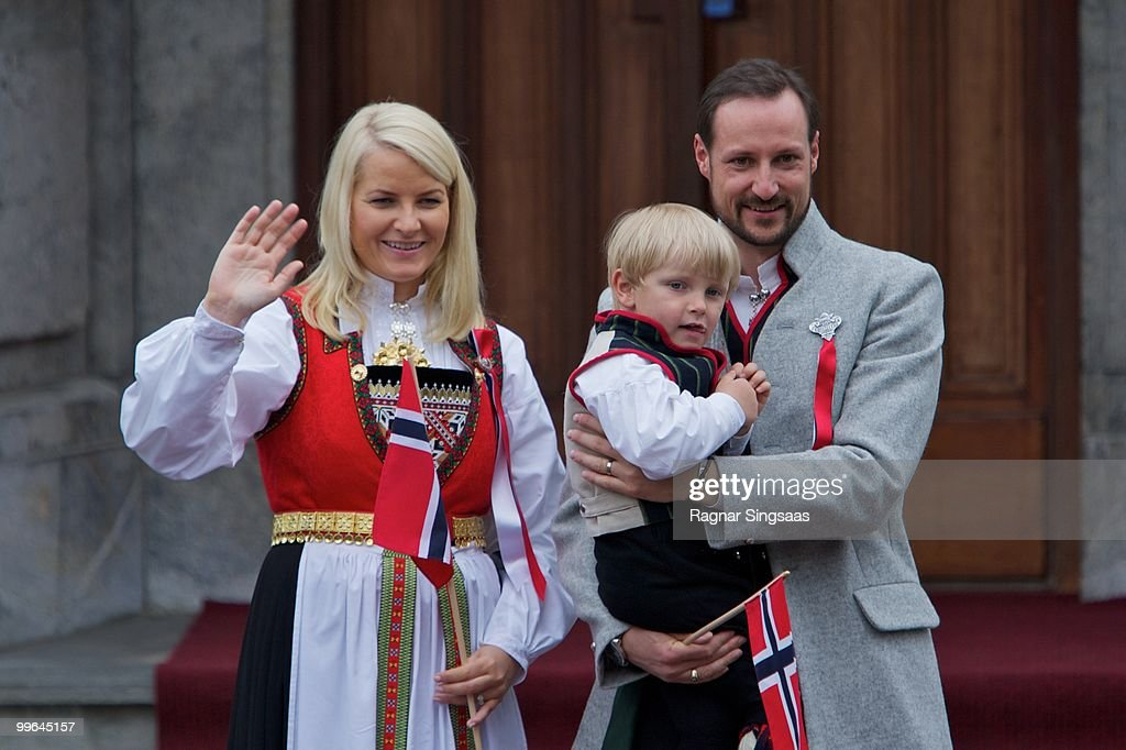Crown Princess Mette-Marit of Norway, Prince Sverre Magnus of Norway and Crown Prince Haakon of Norway attend The Children's Parade on May 17, 2010 in Asker, Norway.