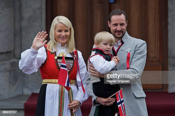 Crown Princess MetteMarit of Norway Prince Sverre Magnus of Norway and Crown Prince Haakon of Norway attend The Children's Parade on May 17 2010 in...