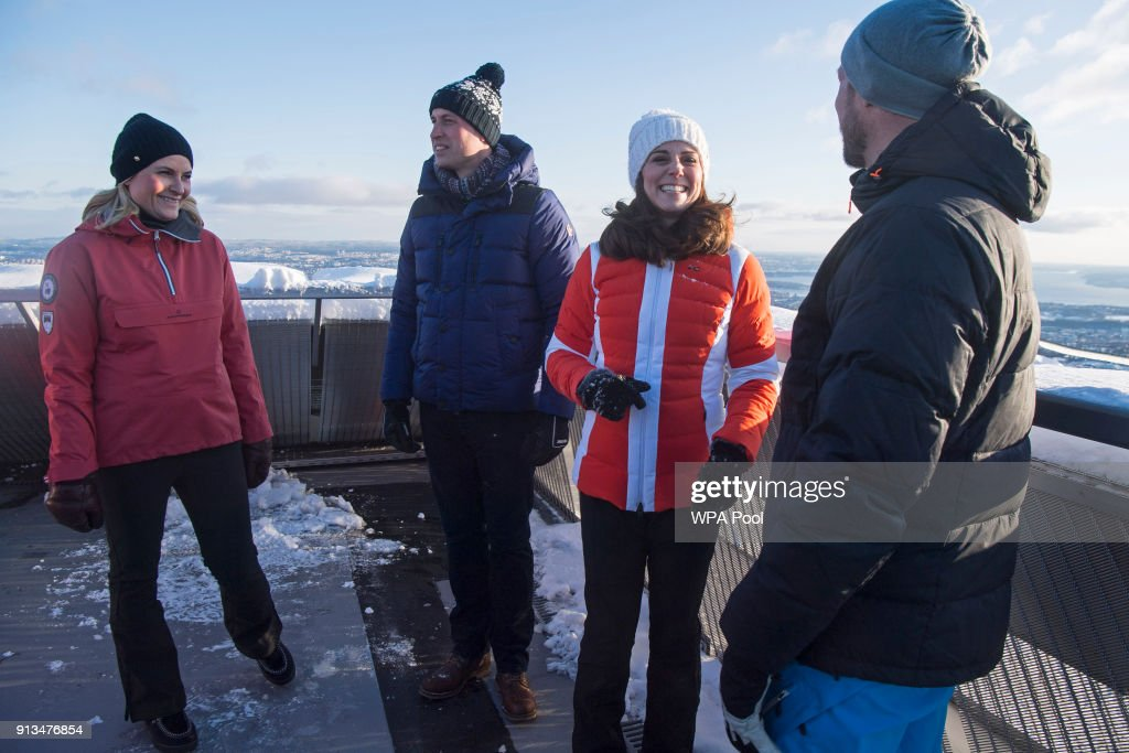 Crown Princess Mette-Marit of Norway, Prince William, Duke of Cambridge, Catherine, Duchess of Cambridge and Crown Prince Haakon of Norway visit Holmenkollen ski jump where they watched junior ski jumpers from Norway's national team in action on day 4 of their visit to Sweden and Norway on February 2, 2018 in Oslo, Norway.