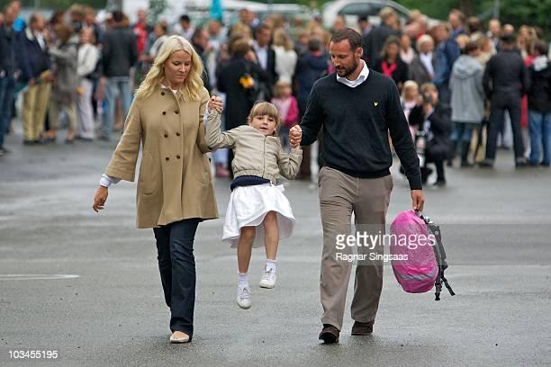 Crown Princess Mette-Marit of Norway, Princess Ingrid Alexandra of Norway and Crown Prince Haakon of Norway accompanies Princess Ingrid Alexandra to...