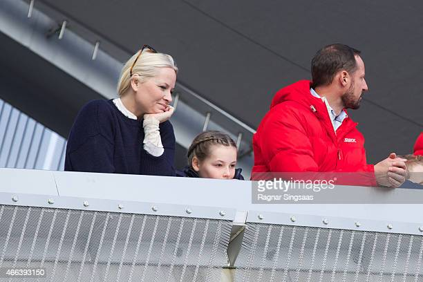 Crown Princess MetteMarit of Norway Princess Ingrid Alexandra of Norway and Crown Prince Haakon of Norway attend the FIS Nordic World Cup on March 15...